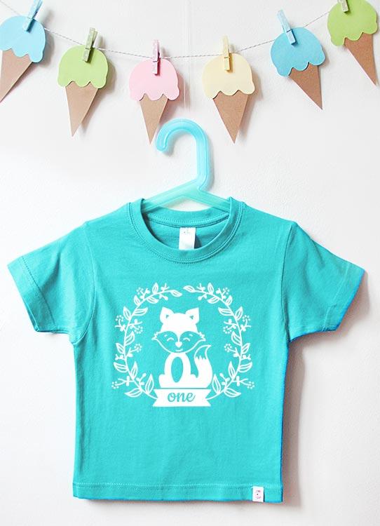 Babyshirt | Fuchs one - türkis & weiß
