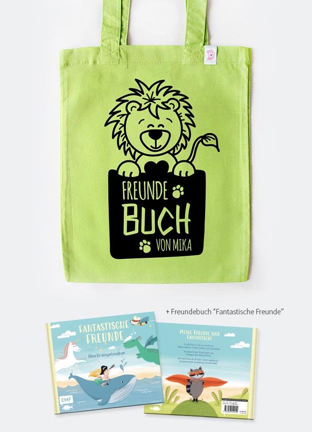 Freundebuch Set | Löwe - grün & schwarz