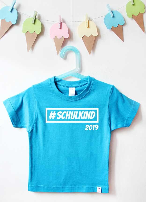 T-Shirt Einschulung | Hashtag Schulkind - türkis & weiß