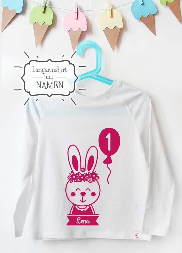Geburtstag Langarmshirt mit Namen | Hase 1 Jahr - weiß & pink