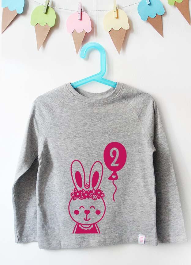 Geburtstag Langarmshirt | Hase 2 Jahre - grau & pink