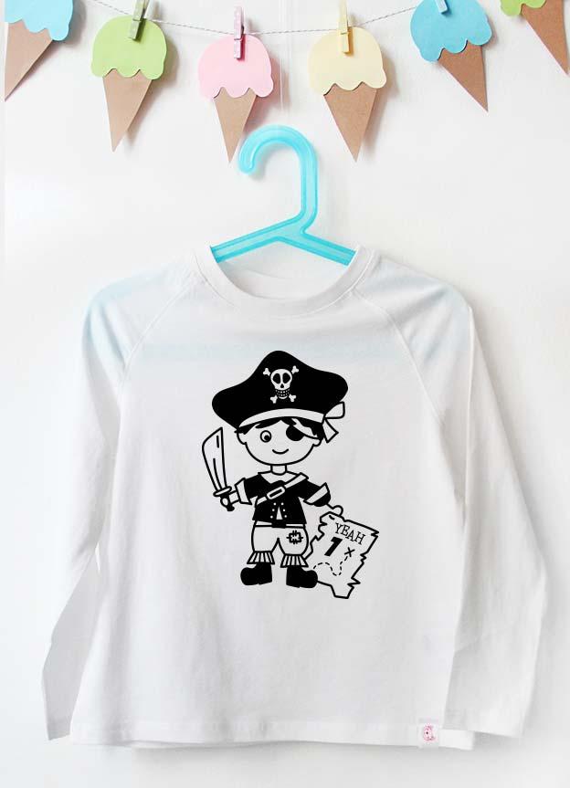 Geburtstag Langarmshirt | Pirat 1 Jahr -  weiß & schwarz