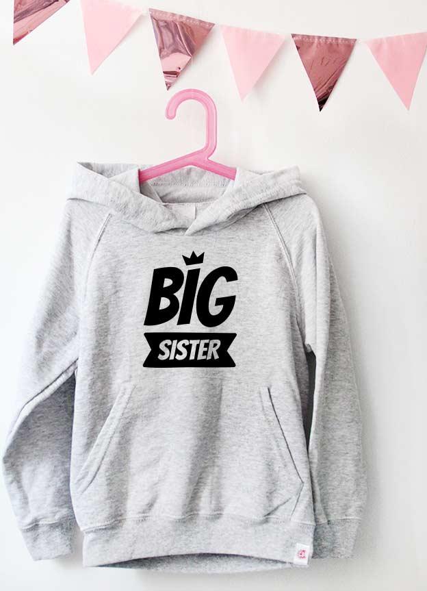 Geschwister Kollektion | Hoodie - Krone big sister - grau & schwarz