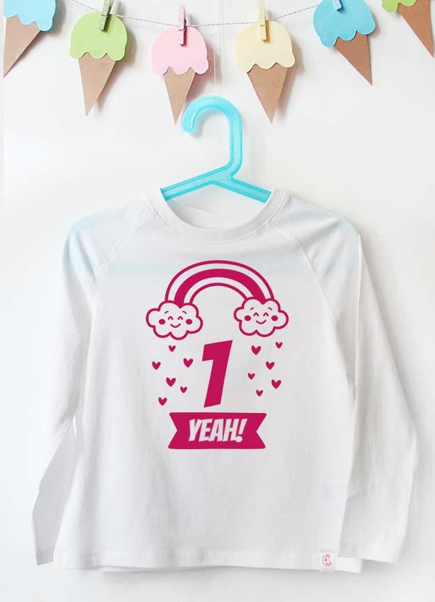 Geburtstag Langarmshirt | Regenbogen 1 Jahr -  weiß & pink