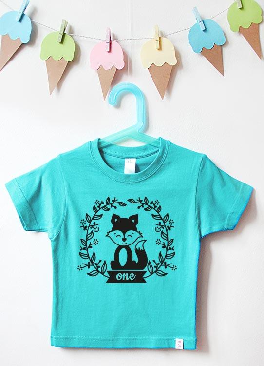 Babyshirt | Fuchs one - türkis & schwarz