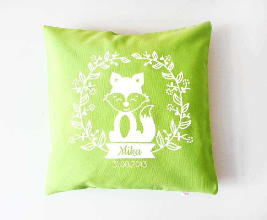 Babykissen - Blumenranke Fuchs - grün & weiß