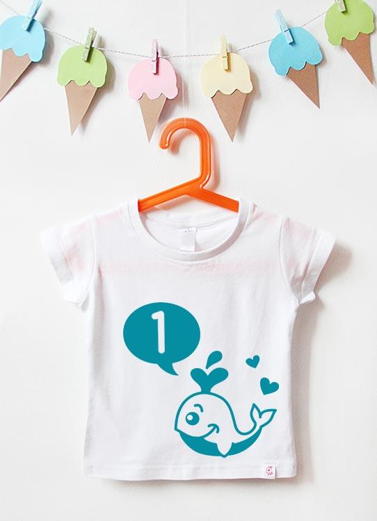 Babyshirt | Wal 1 Jahr - weiß & türkis