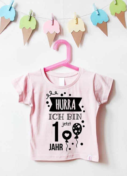 Babyshirt | Hurra 1 Jahr - hellrosa & schwarz