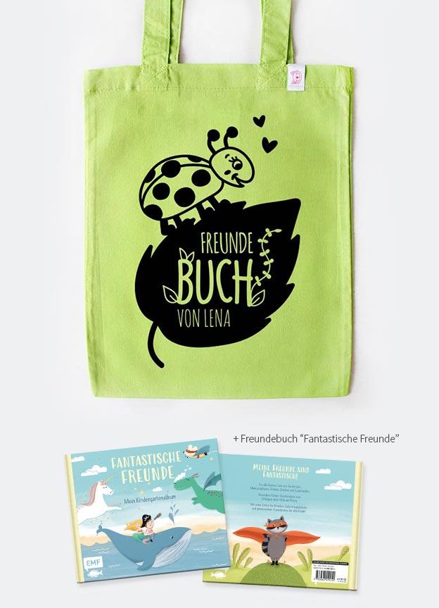Freundebuch Set | Marienkäfer - grün & schwarz