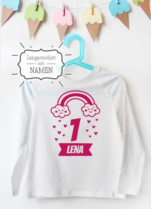 Geburtstag Langarmshirt mit Namen | Regenbogen 1 Jahr -  weiß & pink