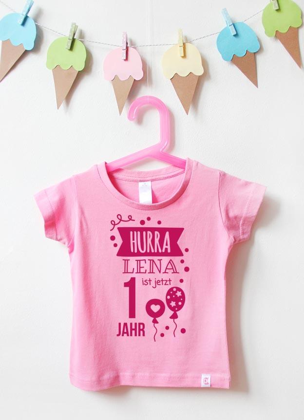 Geburtstagsshirt | Hurra 1 Jahr - rosa & pink