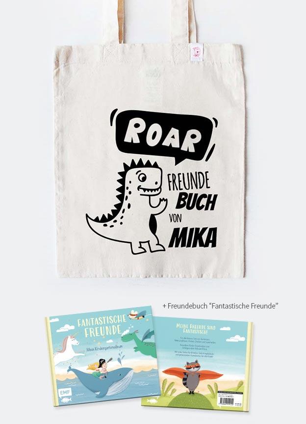Freundebuch Set | Dino - beige & schwarz