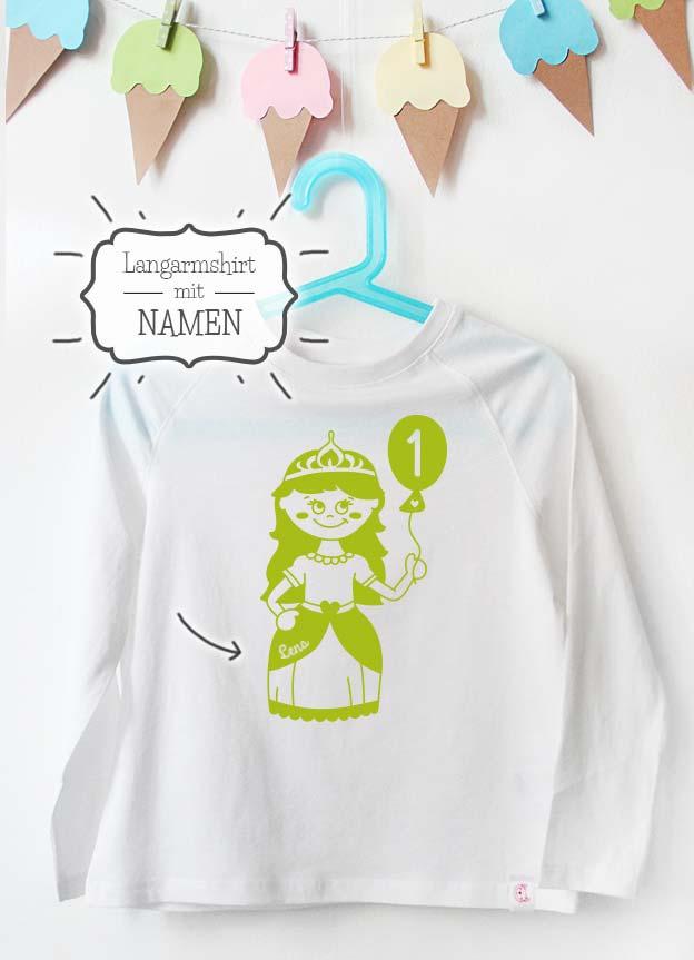 Geburtstag Langarmshirt mit Namen | Prinzessin 1 Jahr - weiß & grün