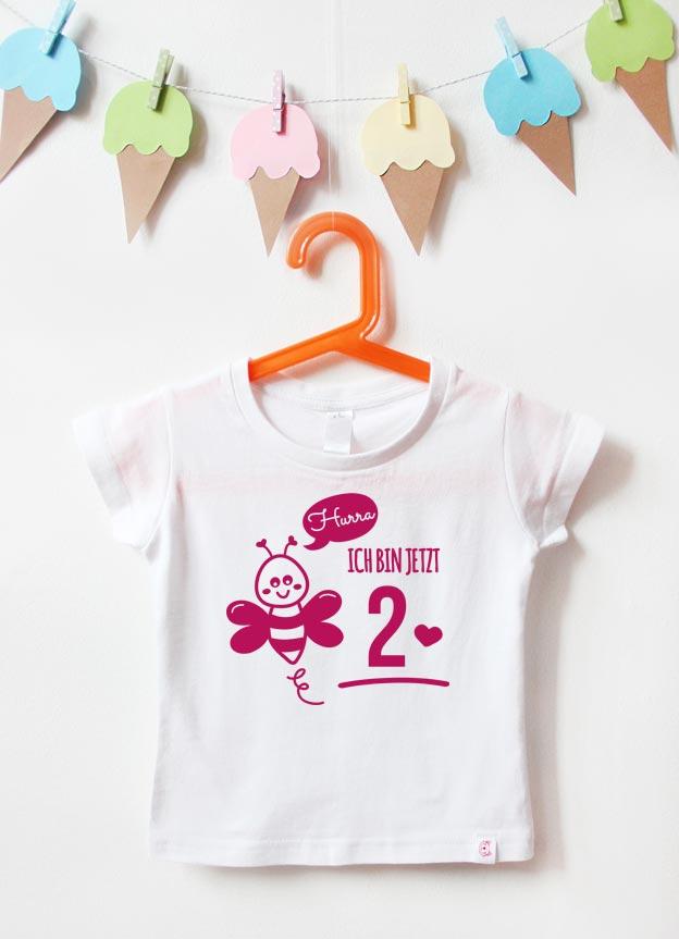 Geburtstagsshirt | Biene 2 Jahre - weiß & pink