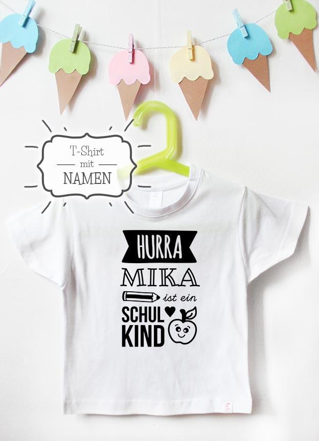T-Shirt Einschulung mit Namen | Hurra - weiß & schwarz