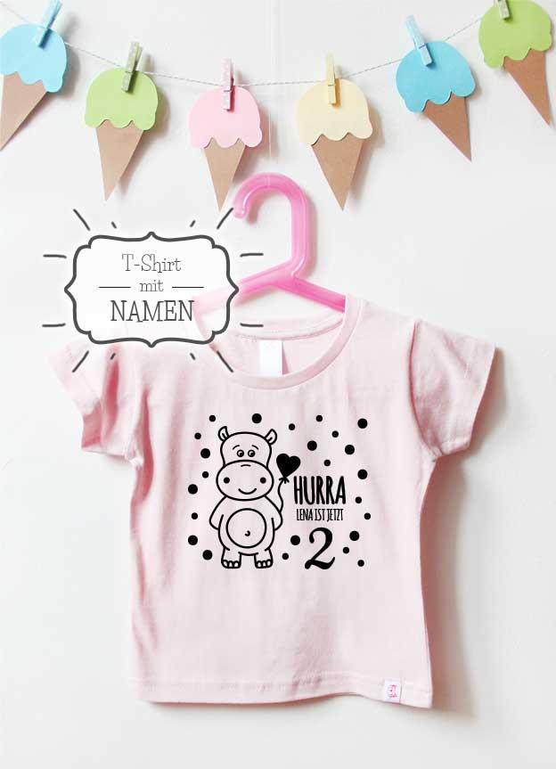 Geburtstagsshirt Namen | Hippo 2 Jahre - hellrosa & schwarz