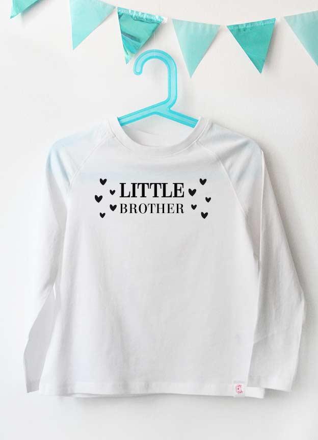 Geschwister Kollektion | Langarmshirt - Herzen little brother - weiß & schwarz