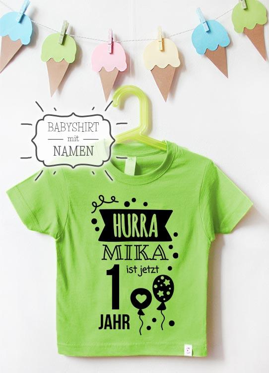 Babyshirt mit Namen | Hurra 1 Jahr - grün & schwarz