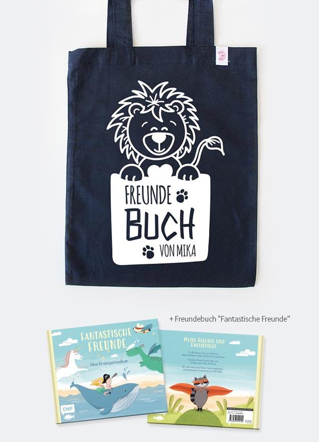 Freundebuch Set | Löwe - dunkelblau & weiß