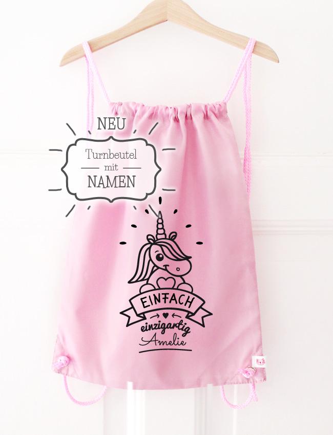 Turnbeutel | Einhorn mit Namen - rosa & schwarz