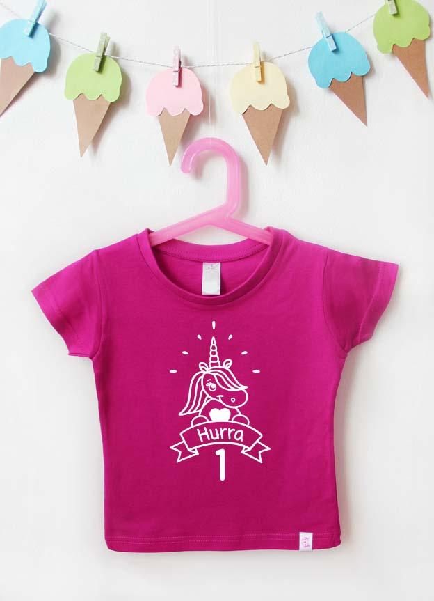 Geburtstagsshirt | Einhorn Hurra 1 Jahr - pink & weiß