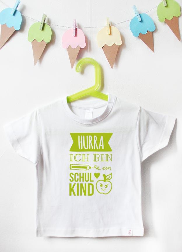 T-Shirt Einschulung | Hurra - weiß & grün