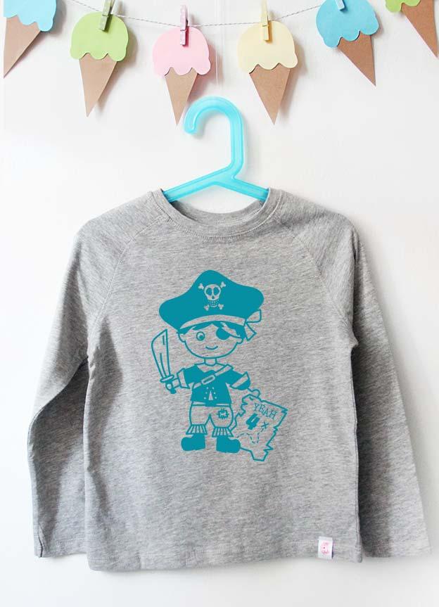 Geburtstag Langarmshirt | Pirat 4 Jahre -  grau & türkis