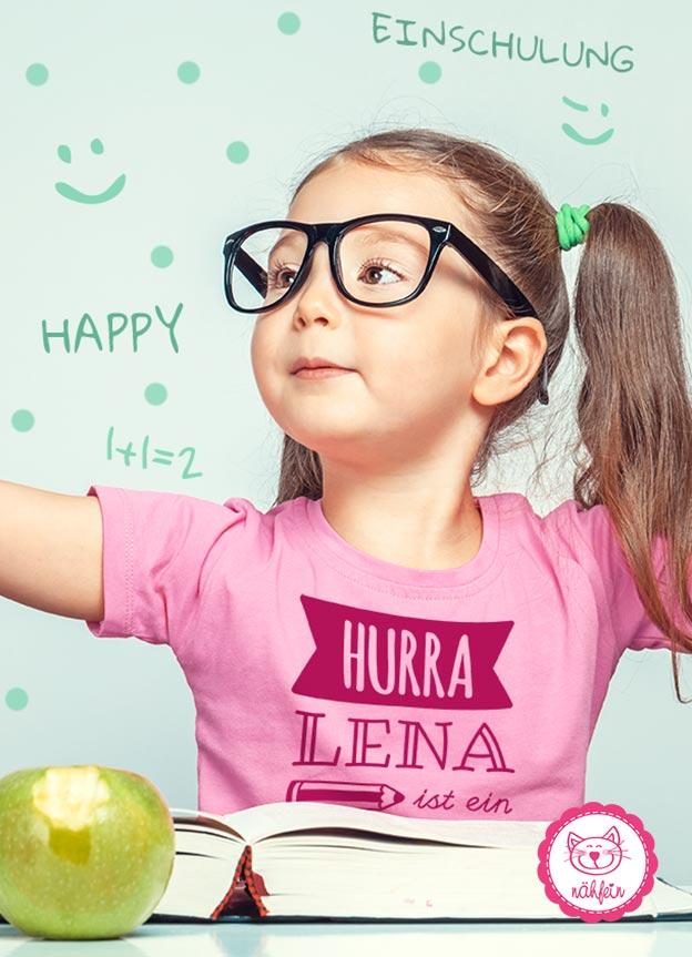 T-Shirt Einschulung Hurra - rosa & pink -nähfein