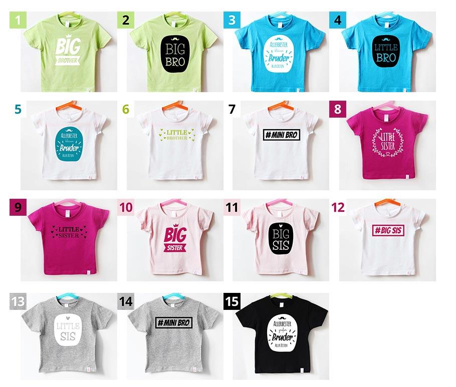 Geschwister T-Shirts - Farbkombinationen - nähfein