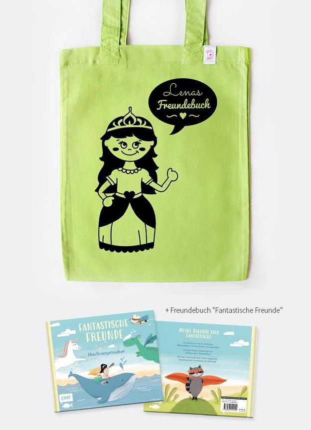 Freundebuch Set | Prinzessin - grün & schwarz