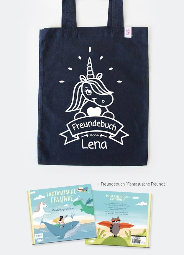 Freundebuch Set | Einhorn - dunkelblau & weiß
