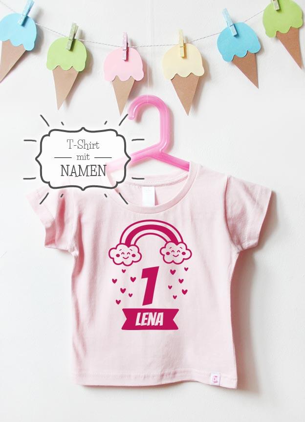 Geburtstagsshirt | Regenbogen 1 Jahr  - hellrosa & pink