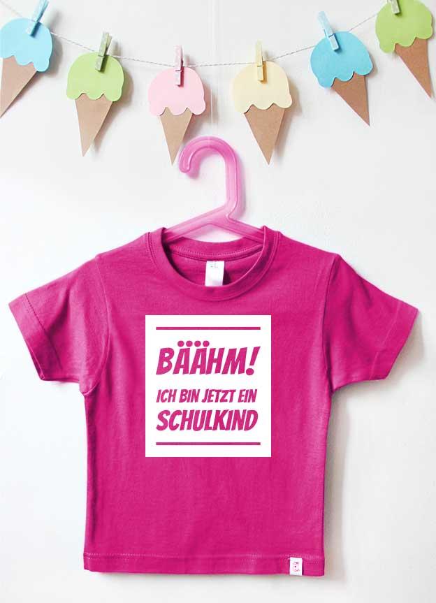 T-Shirt Einschulung | Bäähm - pink & weiß