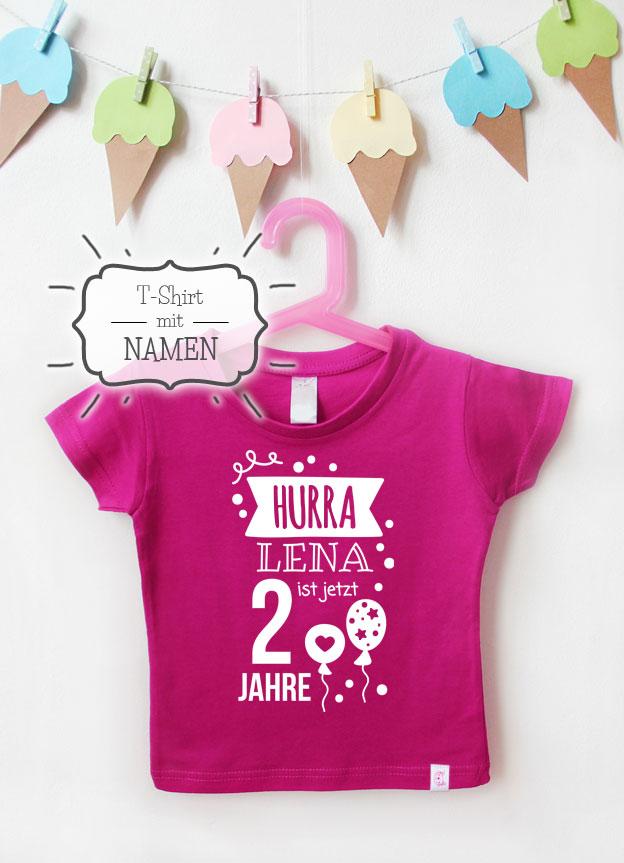 Geburtstagsshirt Namen | Hurra 2 Jahre - pink & weiß
