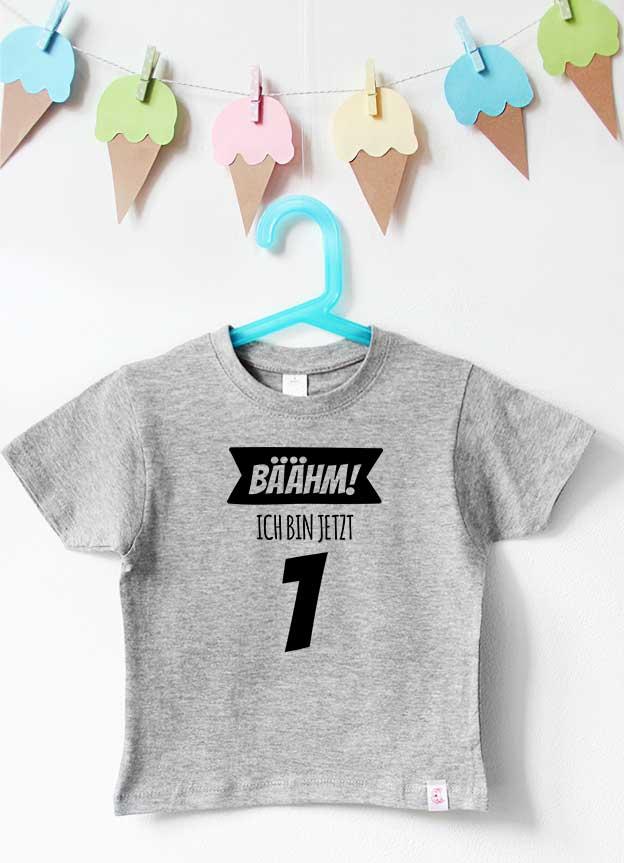 Geburtstagsshirt | Bäähm 1 Jahr - grau & schwarz