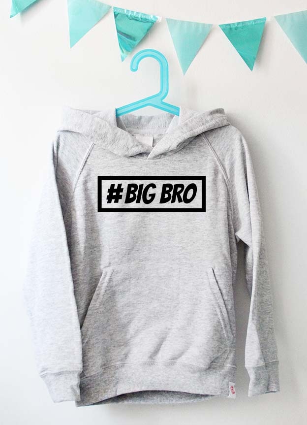 Geschwister Kollektion | Hoodie - Hashtag big bro - grau & schwarz