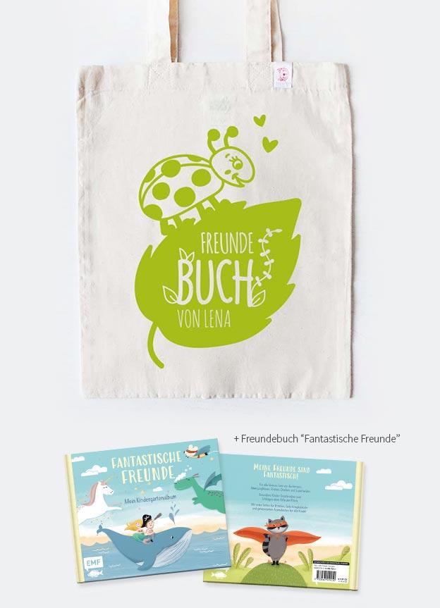 Freundebuch Set | Marienkäfer - beige & grün