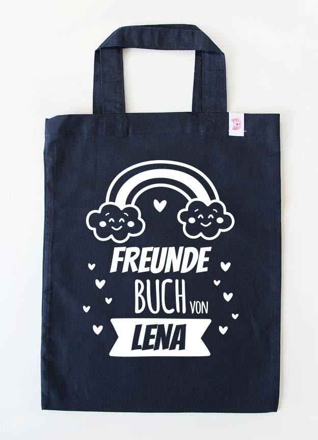 Freundebuch Tasche | Regenbogen - dunkelblau & weiß