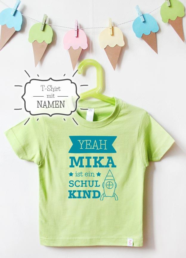 T-Shirt Einschulung mit Namen | Yeah Rakete - grün & türkis