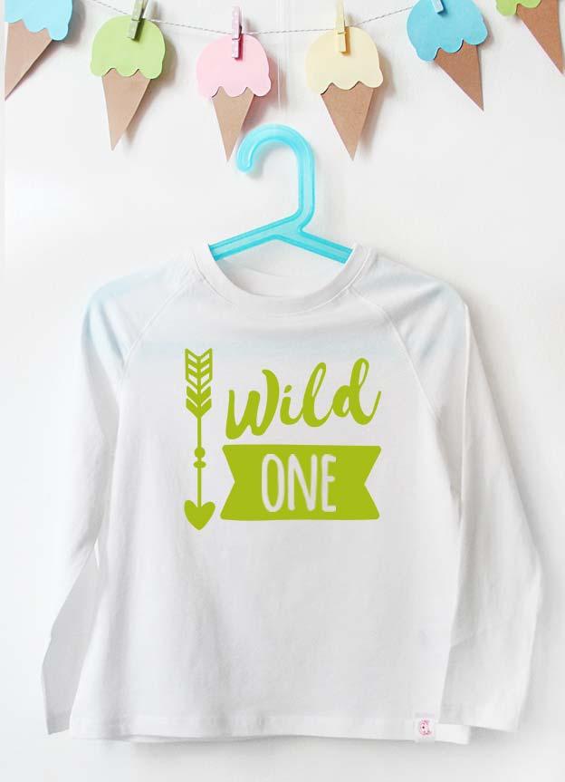 Geburtstag Langarmshirt | wild one  (1 Jahr) - weiß & grün