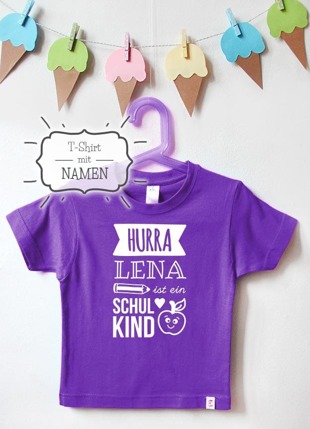 T-Shirt Einschulung Namen   Hurra - lila & weiß