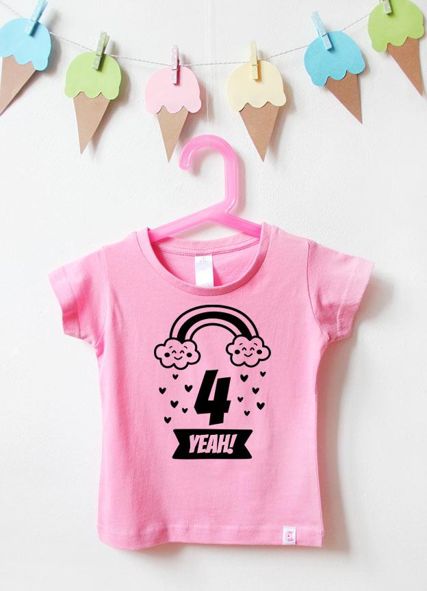 Geburtstagsshirt  | Regenbogen 4 Jahre  - rosa & schwarz