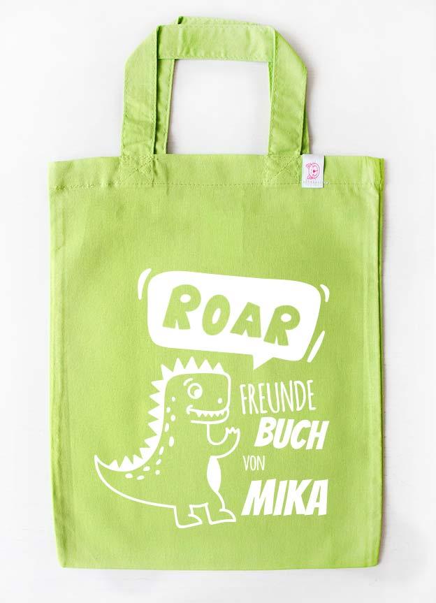 Freundebuch Tasche | Dino - grün & weiß