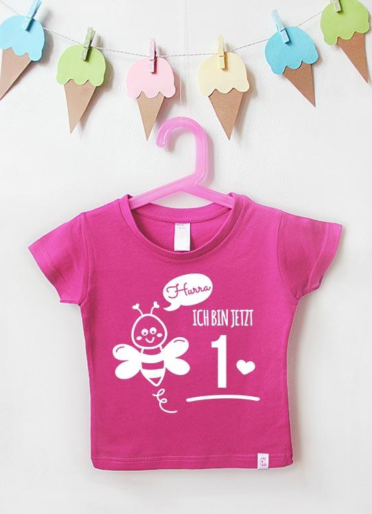 Babyshirt | Biene 1 Jahr - pink & weiß