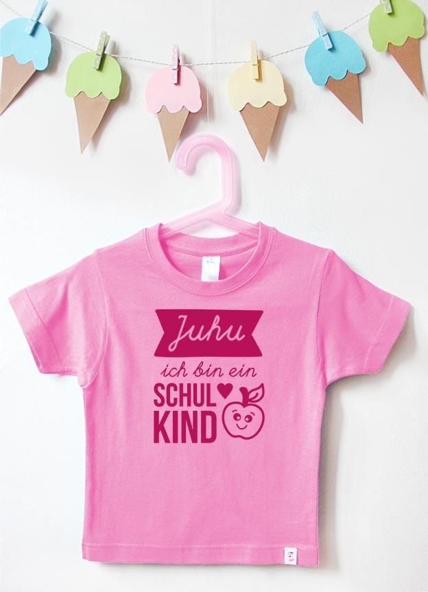 T-Shirt Einschulung | Juhu Apfel - rosa & pink