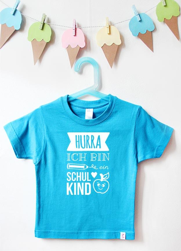T-Shirt Einschulung | Hurra - türkis & weiß