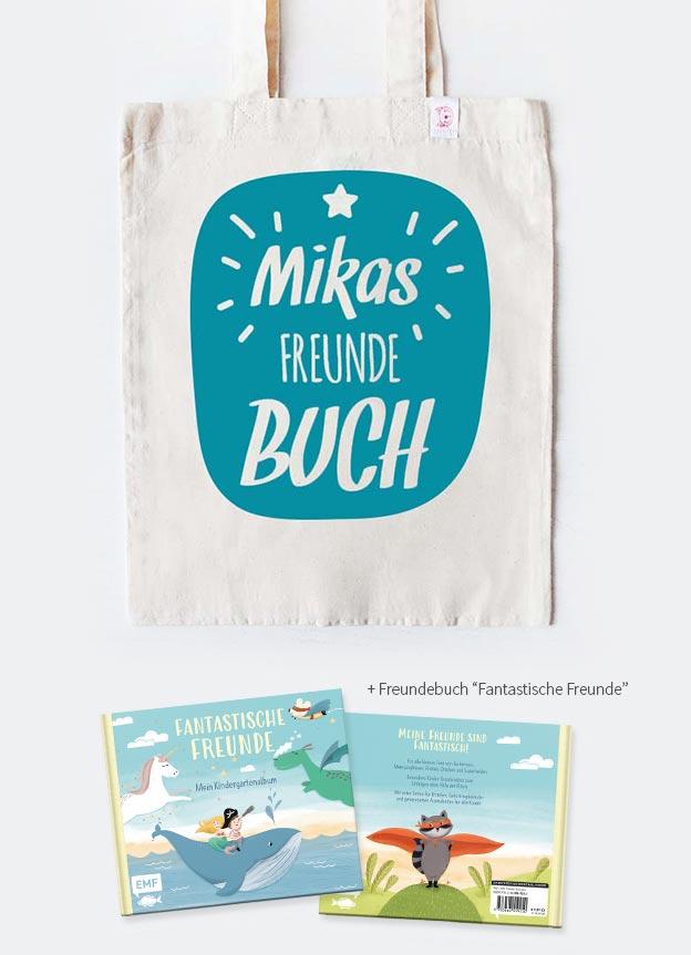 Freundebuch Set | Stern - beige & türkis