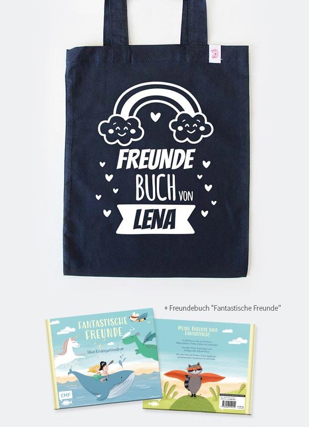 Freundebuch Set | Regenbogen - dunkelblau & weiß
