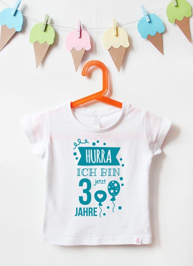 Geburtstagsshirt | Hurra 3 Jahre - weiß & türkis