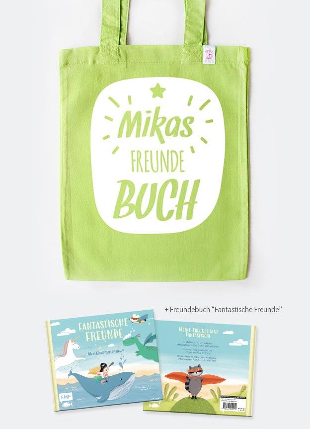 Freundebuch Set | Stern - grün & weiß
